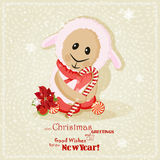 2015 new year card with cute sheep. Chinese Goat. Vector illustration. Snowflakes on winter background stock illustration