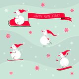New year card with cute snowman. Vector snowmen and congratulatory banner. Winter sports for snowmen. New year card Stock Photo