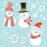 2015 new year card with cute snowmen. Vector illustration, holi. Hand-drawn cute snowmen. New year illustration 2015, greeting card, elements for design Stock Illustration