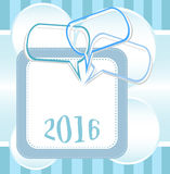 2016 New Year card design with abstract speech bubbles set Stock Photos