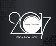 2017 new year card design in black and white colors. 2017 new year creative design in black and white colors on dark background for your greetings card, flyers Stock Photo
