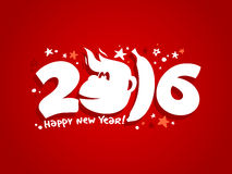 2016 new year card design with fiery monkey. Stock Photo
