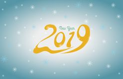 2019 New Year card design. Vector new year greeting illustration with 2019 numbers and snowflake background Stock Photo