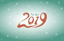 2019 New Year card design. Vector new year greeting illustration with 2019 numbers and snowflake background Stock Photography