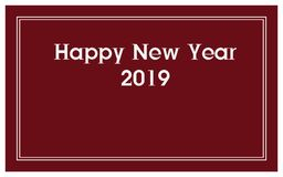 "New Year card design. White""Happy New Year 2019"" on dark red backound with white outline around royalty free illustration"