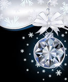 New Year card with diamond christmas ball Royalty Free Stock Images