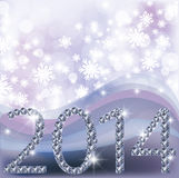 New 2014 Year card with diamonds Royalty Free Stock Image