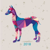 The 2018 new year card with Dog made of triangles Stock Image