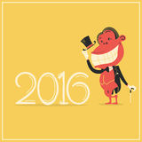 New year card with elegance monkey in gentleman's suit Stock Image