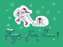 New Year card with elf and text Stock Photography