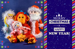 New Year card. Father Frost, Snow Maiden and snowman next to a monkey, a symbol 2016. Hand-made, exclusive.  Royalty Free Stock Photos