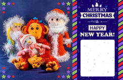 New Year card. Father Frost, Snow Maiden and snowman next to a monkey, a symbol 2016. Hand-made, exclusive. Space for text.  Royalty Free Stock Images