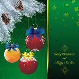New year card with fir on orient green pattern. New year card with stars on orient green pattern and blue fir and color christmas decorations Royalty Free Stock Photo