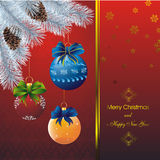New year card with fir on orient red pattern. New year card with stars on red and blue fir and color christmas decorations Royalty Free Stock Image