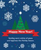 New Year card with fir-tree. Holiday ribbon and snowflakes Stock Photo