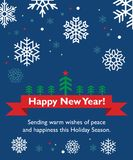New Year card with fir-tree. Holiday ribbon and snowflakes Royalty Free Stock Image