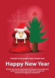 New year card. Fir-tree and sheep in bag Royalty Free Stock Photography