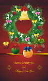 New year card with fir wreath on orient red Stock Images