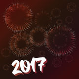 New year card with fireworks effect. Vector new year card illustration. Happy New year 2017 theme with fireworks effect Stock Photo