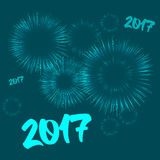 New year card with fireworks effect. Vector new year card illustration. Happy New year 2017 theme with fireworks effect Royalty Free Stock Images