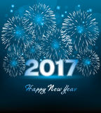 New year 2017 card with fireworks, vector. Happy new year 2017 card with fireworks, vector Stock Photography