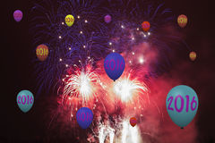 New Year 2016. Card with fireworks and party balloons Royalty Free Stock Photography