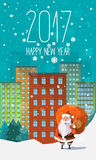 2017 New Year card with flat trendy Santa Clause in the site of a downtown view. With houses, buildings and snowflakes with sack full of gifts and presents Stock Illustration