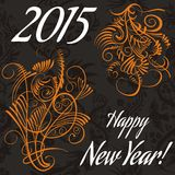 New year card with floral pattern. vector. Stock illustration Royalty Free Stock Images