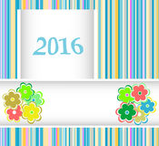 New year 2016 card with flowers set, christmas holiday invitation Stock Images