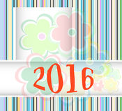 New year 2016 card with flowers set, christmas holiday invitation card Royalty Free Stock Photos