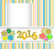 New year 2016 card with flowers set, christmas holiday invitation card Stock Photography
