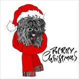 New year card with fluffy dog in santa claus red hat and glasses. Black and white vector illustration. Stock Photography