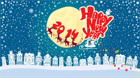 New Year card with flying rein deers on sky backgr Stock Photography
