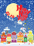 New Year card with flying rein deers on sky backgr. Ound Vector Illustration