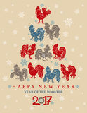 New year card fun roosters. 2017. Year of the rooster. Vector illustration in retro style Stock Photo