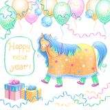 New Year card. Funny horse with balloons, confetti and gifts. Vector illustration Royalty Free Stock Images