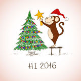 New Year Card With Funny Monkey Decorate The Christmas Tree. Royalty Free Stock Photos
