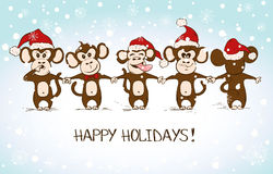 New Year Card With Funny Monkey Holding Hands. Funny sketching monkey holding hands - symbol of the New Year 2016. Greeting New Year and Christmas card Royalty Free Stock Photo