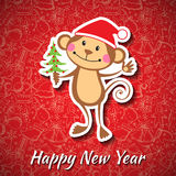 New Year card with funny monkey. Vector illustration Royalty Free Stock Photos