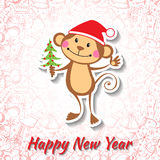 New Year card with funny monkey. Vector illustration Royalty Free Stock Image