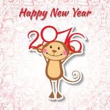 New Year card with funny monkey. Vector illustration Royalty Free Stock Images