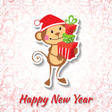New Year card with funny monkey. Vector illustration Royalty Free Stock Photography