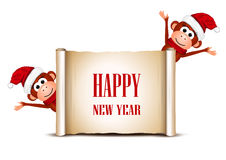 New Year card with funny monkeys on a white. Background. Vector illustration stock illustration