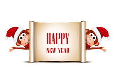 New Year card with funny monkeys on a white. Background. Vector illustration vector illustration