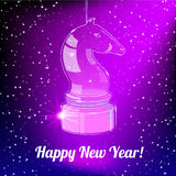 New Year Card with glass horse on purple back. Happy New Year Card for 2014 year with glass horse on purple background stock illustration
