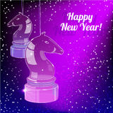 New Year Card  with glass horse on purple back Stock Photos