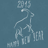 2015 new year card with goat. Happy new year. Vector illustration Royalty Free Stock Images