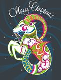 New Year card with goat. Merry Christmas card with decorative goat Stock Photography