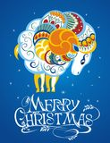 2015 new year card with goat(sheep). Merry Christmas card with decorative sheep vector illustration