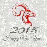 New year card with goat. vector illustration Royalty Free Stock Images